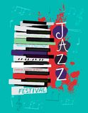 Jazz poster image. Retro jazz festival poster with a piano keyboard in bright colors. Editable vector illustration. Portrait image in a modern style useful for Royalty Free Stock Images