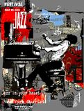 Jazz poster with pianist over grunge background Royalty Free Stock Image