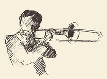 Jazz poster trombone music acoustic. Concept for jazz poster Man playing trombone trumpet Vintage hand drawn illustration sketch stock illustration