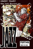 Jazz poster with trumpeter. Vector illustration of a Jazz poster with trumpeter Royalty Free Stock Photography