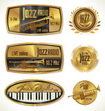 Jazz radio golden labels Stock Photography