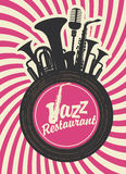 Jazz restaurant. Banner for jazz restaurant with wind instruments and vinyl record Stock Images