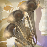 Jazz rock background. Abstract musical background trumpet  guitar piano and drums Royalty Free Stock Image