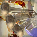 Jazz rock background. Abstract musical background trumpet guitar and drums royalty free illustration