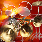 Jazz rock background. Abstract musical background trumpet and drums Royalty Free Stock Image