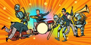 Jazz rock n roll band of humans and robots. Pop art retro vector illustration comic cartoon hand drawing Royalty Free Stock Images