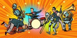 Jazz rock n roll band of humans and robots. Pop art retro vector illustration comic cartoon hand drawing royalty free illustration