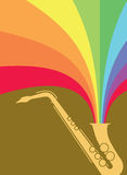 Jazz Sax Blast Rainbow. Hot jazz, cool jazz, the saxophones play on! This dynamic sax blast is useful in a variety of applications - a full page ad, magazine Royalty Free Stock Photography