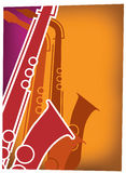 Jazz Sax Blast Red_Violet. Hot jazz, cool jazz, the saxophones play on! This dynamic sax blast is useful in a variety of applications - a full page ad, magazine Royalty Free Stock Image