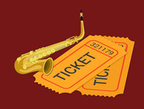Jazz sax concert music ticket booking flat 3d isometric  Stock Image