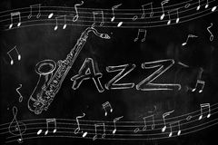 Jazz Saxophone Drawing on blackboard Royalty Free Stock Photos