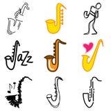Jazz saxophone icons Royalty Free Stock Images