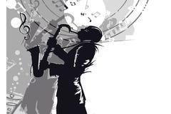Jazz saxophonist musician silhouette Stock Photo