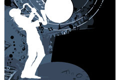 Jazz saxophonist musician silhouette Royalty Free Stock Image