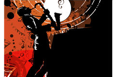 Jazz saxophonist musician silhouette. Black white Stock Image