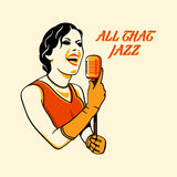 Jazz singer. In three color print halftone pattern vector illustration