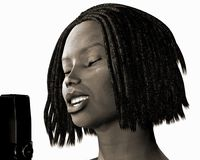 Jazz Singer BW. Old style jazz african american singer Stock Photos
