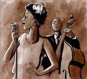 Jazz singer and double-bass Stock Image