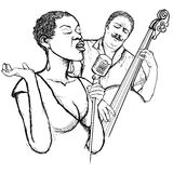 Jazz singer and doublle bass Royalty Free Stock Photo
