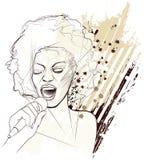 Jazz singer on grunge background Royalty Free Stock Photo