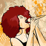 Jazz singer on grunge background Royalty Free Stock Image