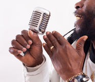 Jazz Singer with Micro Royalty Free Stock Photo