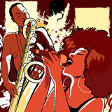 Jazz singer and saxophonist on grunge background stock illustration
