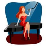 Jazz singer woman on grand piano cartoon vector Stock Photo