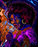Jazz singer. A jazz woman singer on the midnight blue purple stage singing Stock Photography