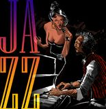 Jazz singer woman singing with piano player vector illustration