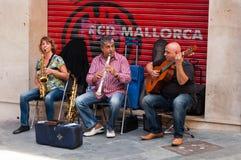 Jazz on street. Street swing music in down town Palma of Mallorca Stock Photos