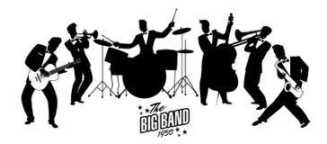Jazz Swing Orchestra Rétro type Illustration de dessin animé Photo libre de droits