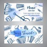 Jazz Tickets Music Instruments, diseño de la bandera Dé el tambor exhausto, piaono, violín, guitarra y el saxofón en la pintura s stock de ilustración