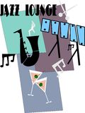 Jazz time. Retro illustration of jazz lounge with martinis and musical instruments from fifties era Stock Image