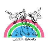 Jazz Trio Of Saxophone, trompeta y jugadores de Contrabss Foto de archivo