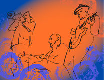 Jazz trio silhouettes on the color background with texture. Stock Photos