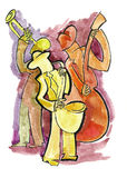 Jazz trio on the stage. Jazz trio of saxophonist, bassist and trumpeter Royalty Free Stock Images