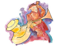 Jazz trio on the stage. Trumpeter, bassist and saxophonist playing jazz Royalty Free Stock Photos