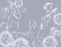 Jazz trio white silhouettes on the gray grunge background with t Royalty Free Stock Images