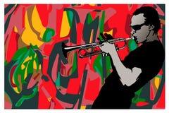 Jazz, trombettista Immagine Stock