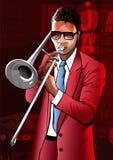Jazz trombone player Royalty Free Stock Photos