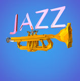 Jazz Trumpet. Low poly Jazz and trumpet poster. Clipping path included for easy selection Stock Images
