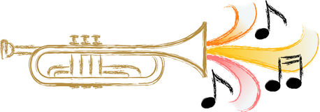 Jazz Trumpet Music/eps. Illustration of a trumpet with stylized music symbolizing jazz, blues, swing music...matching saxophone in my portfolio
