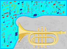 Jazz trumpet. Notes  create a melody fly from jazz pipe Stock Photo