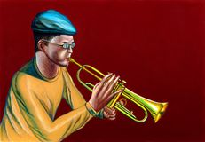Jazz trumpet player. A jazzman playing trumpet. Hand painted illustration Stock Image