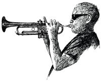 Jazz trumpet player Royalty Free Stock Photos