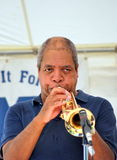 Jazz trumpet player. African american jazz musician performing in concert outside Royalty Free Stock Photography
