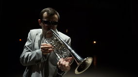 Jazz trumpet player stock footage