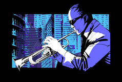 Jazz trumpet player over a city background. Vector illustration royalty free illustration