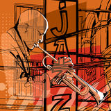 Jazz trumpet player. Vector illustration royalty free illustration